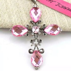NWT Betsey Johnson pink cross necklace